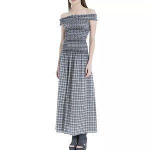 Max Studio London Gray Off Shoulder Maxi Dress